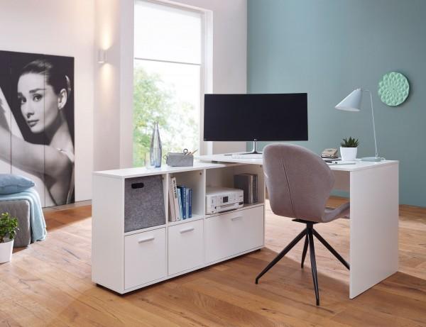 Design  Schreibtischkombination in zeitlosem Design Praktischer Buerotisch mit integriertem Regal Drei Schubladen befinden sich im offenen Sideboard Abmessungen  Breite: 136 cm Hoehe: 75,5 cm Tiefe: 155,5 cm Gesamtbreite ausgeklappt: 240 cm Boden bis