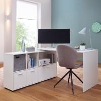 Design  Schreibtischkombination in zeitlosem Design Praktischer Buerotisch mit integriertem Regal Drei Schubladen befinden sich im offenen Sideboard...