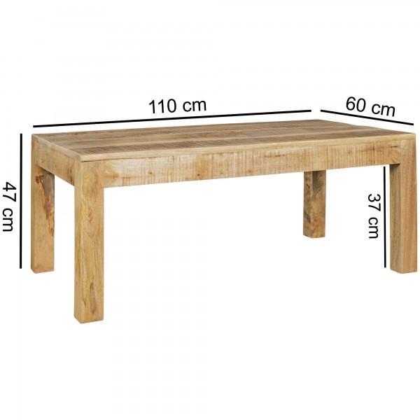 Design  Couchtisch im rustikalen Landhausstil Grosse, rechteckige Tischplatte zur Ablage von diversen Utensilien Fester Stand dank der massiven Tischbeine Abmessungen  Breite: 110 cm Hoehe: 47 cm Tiefe: 60 cm Beinstaerke: 6,5 x 6,5 cm Boden bis Tisch