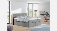 Boxspringbett Colton mit Massivholzrahmen im Kopfteil Grau Luxus-Mikrofaser 200 x 200 cm