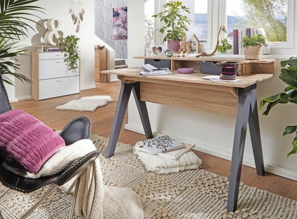 Design  Hochwertiges und modernes Design kombiniert Praktische Blende an der Rueckseite des Tisches (kein Kabelsalat zu sehen) 2 farblich abgesetzte Schubladen und eine Art Podest oberhalb der Schubladen Kleiner, zusaetzlicher Stauraum zwischen und n