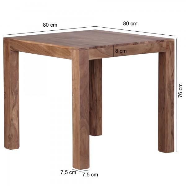 Sie sind auf der Suche nach einem modernen und praktischem Esstisch fuer Ihr zuhause? Massivholz Esstische von WOHNLING.   Wofuer geeignet? Durch die quadratische Form von 80 x 80 cm kann der Tisch ideal in kleinen Kuechen oder Essbereichen platziert