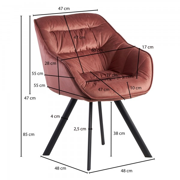 Design  Attraktiver Esszimmerstuhl in modernem Design Angenehm geformte Sitzschale mit Armlehnen fuer hohen Sitzkomfort Vier robuste Standbeine als Kontrast zum weichen Samtbezug Abmessungen   Breite: 60 cm Hoehe: 85 cm Tiefe: 64 cm Sitzhoehe: 48 cm