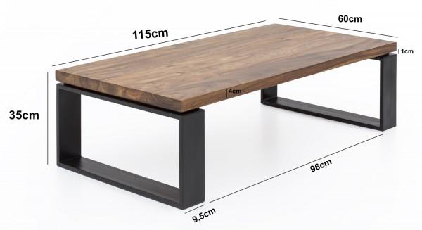 Design  Massiver Couchtisch im angesagten Industrial-Design Materialmix aus naturbelassenem Holz und robustem Metall Grosse Tischplatte mit stabilem, kufenfoermigem Tischgestell Abmessungen  Breite: 115 cm Hoehe: 35 cm  Tiefe: 60 cm Tischplattenstaer
