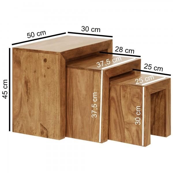 Wofuer geeignet? Das 3er Set kann individuell im Wohnzimmer platziert werden - Die kleineren Tische lassen sich jeweils unter den groesseren Tisch schieben und sind somit extrem platzsparend.   FSC® zertifizierte Ware: Bei dem Material handelt es si
