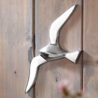 Design  Massives und modernes Aluminium Design  Hochwertige Verarbeitung der Moewe Schoen silber glaenzende Meeresfigur Abmessungen  Hoehe: 30 cm Breite: 13...