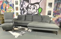Ecksofa Java mit Sitztiefenverstellungen & Relaxsessel Anthrazit Velour mit SamthaptikMikrofaser