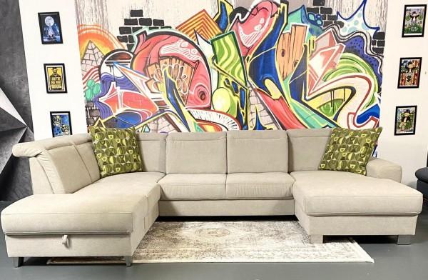 Wohnlandschaft Vito Columbo mit Sitztiefenverstellungen beige Luxus-Webstoff/Fein