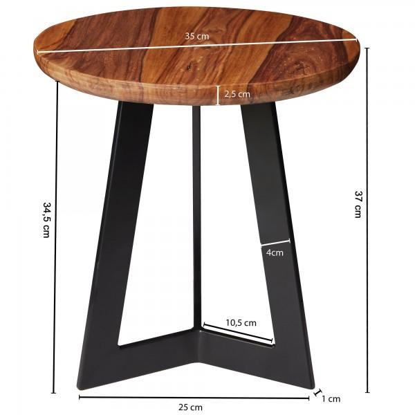 Design  Massiver Beistelltisch im angesagten Industrial-Design Materialmix aus naturbelassenem Holz und robustem Metall Grosse Tischplatte mit stabilem Tischgestell Abmessungen  Breite: 35 cm Hoehe: 37 cm Tiefe: 35 cm  Tischplattenstaerke: 2,5 cm Wei