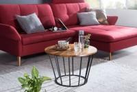 Design  Massiver Couchtisch im angesagten Industrial-Design Materialmix aus naturbelassenem Holz und robustem Metall Grosse Tischplatte mit stabilem...