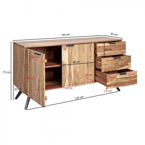 Design  Sideboard mit angesagtem Materialmix aus Holz und Metall Massive Kommode mit drei geraeumigen Schubladen Zwei Tueren sorgen fuer noch mehr Stauraum Grosse Ablageflaeche bietet viel Platz fuer diverse Utensilien Abmessungen  Breite: 145 cm Hoe