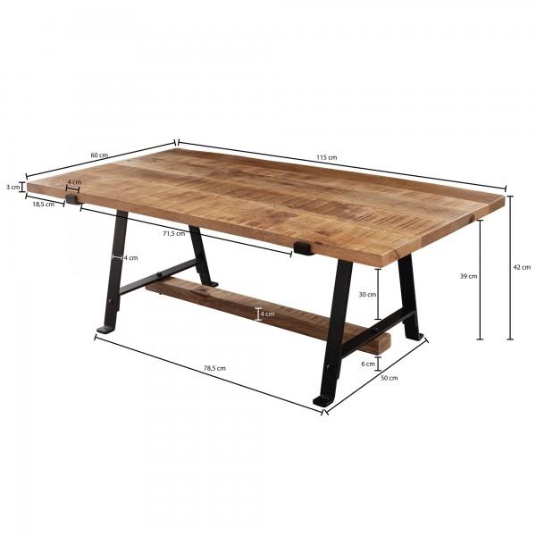 Design  Rustikaler Couchtisch im modernen Design Die schwarzen Metallbeine betonen den trendigen Industrial Style Anmutige Tischplatte durch die schoene Maserung des Mangoholzes Abmessungen  Breite: 115 cm Hoehe: 42 cm Tiefe: 60 cm Staerke der Tischp