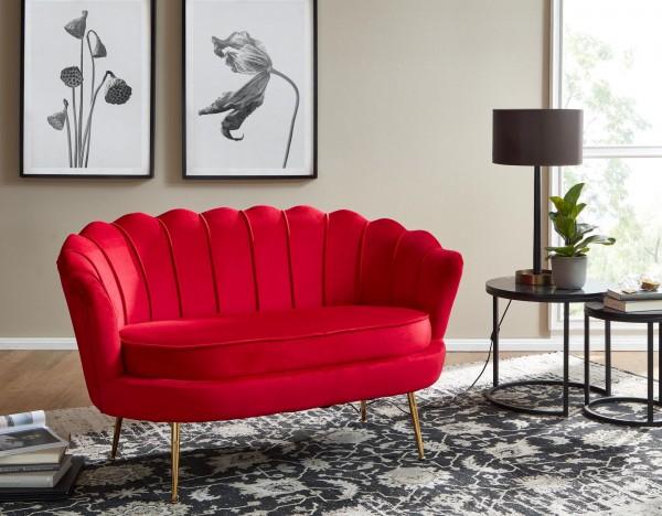 Design 2-Sitzer Sofa Samt Rot 130 x 84 x 75 cm   Kleine Couch für zwei Personen   Moderne Polstergarnitur Schmal mit goldenen Beinen