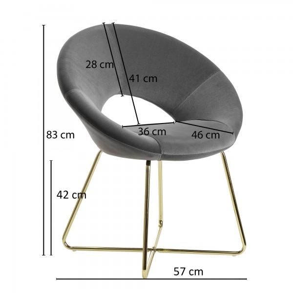 Design  Moderner Esszimmerstuhl mit edlem Samtbezug Geschwungene &amp  gepolsterte Sitzschale mit Rueckenlehne Metallbeinkonstruktion als Kontrast zum weichen Sitzschalenbezug Abmessungen   Breite: 57 cm Hoehe: 83 cm Tiefe: 60 cm Sitzhoehe: 42 cm Sit