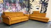 2x 2er Sofa Alizee inklusive elektronische Relaxfunktion Terra Luxus-Webstoff