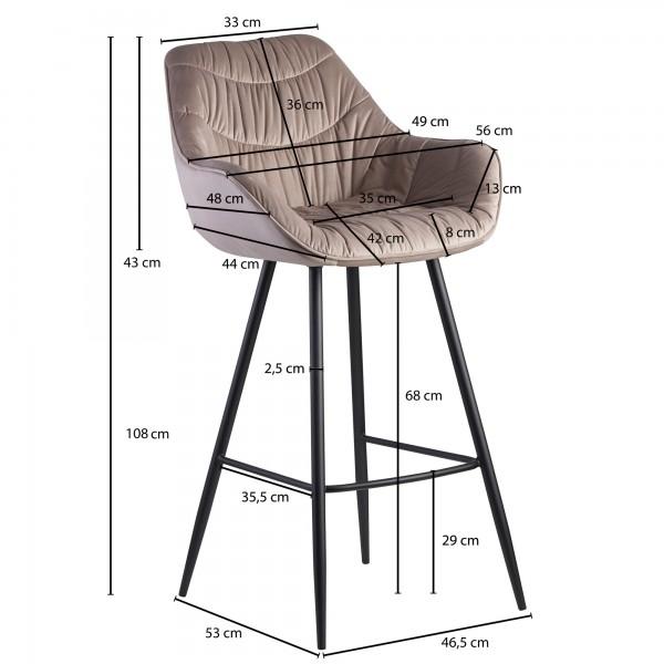 Design  Moderner Barhocker in skandinavischem Design Angenehm geformte Sitzschale mit ueppiger Polsterung fuer hohen Sitzkomfort Vier robuste Standbeine als Kontrast zum weichen Samtbezug Abmessungen  Breite: 56 cm Hoehe: 108 cm Tiefe: 59 cm Sitzhoeh