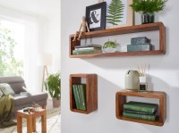 Design  Modernes massives Wandregal Set  Abgerundete Ecken in Cube Form  Grosse Ablageflaeche 3er Set Wohnzimmerregale mit einzigartiger Maserung Abmessungen...