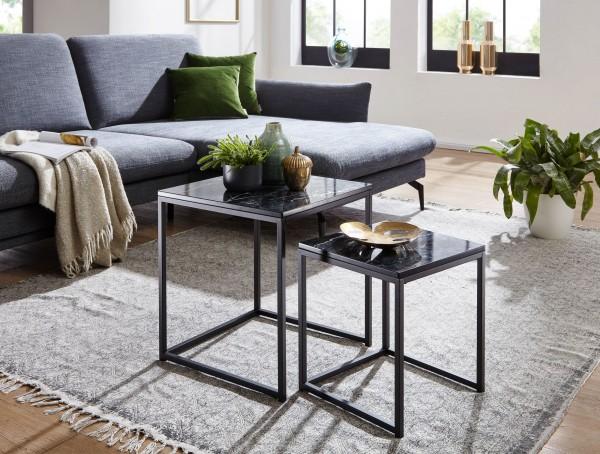 Design  Zwei quadratische Beistelltische im modernen, schlichten Stil Die Tischplatten stechen durch die edle Marmor Optik hervor Dekotische mit einem robustem Metallgestell Abmessungen Grosser Tisch  Breite: 45 cm Hoehe: 50 cm Tiefe: 45 cm Maximale