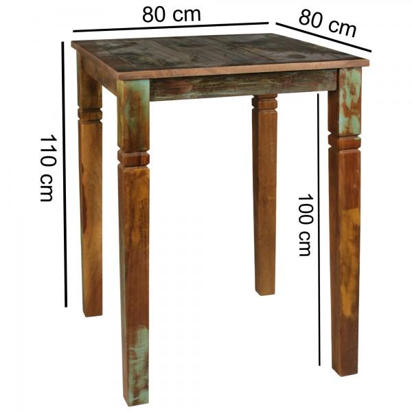 Design  Eindrucksvoller Esstisch im Shabby-Chic Design Quadratische Tischplatte mit genuegend Ablageflaeche Massive Standbeine fuer sicheren Stand des Tischs Einzigartige Maserung und Schnitzereien an den Tischbeinen Abmessungen  Hoehe: 110 cm Breite