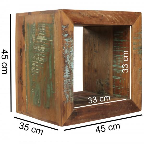 Design  Quadratischer Beistelltisch im Shabby - Chic Design Innenraum kann als zusaetzliche Ablagemoeglichkeit verwendet werden Individuelle Maserung und Farbgestaltung  Abmessungen  Hoehe: 45 cm Breite: 45 cm Tiefe: 35 cm Ablageflaeche innen (BxHxT)