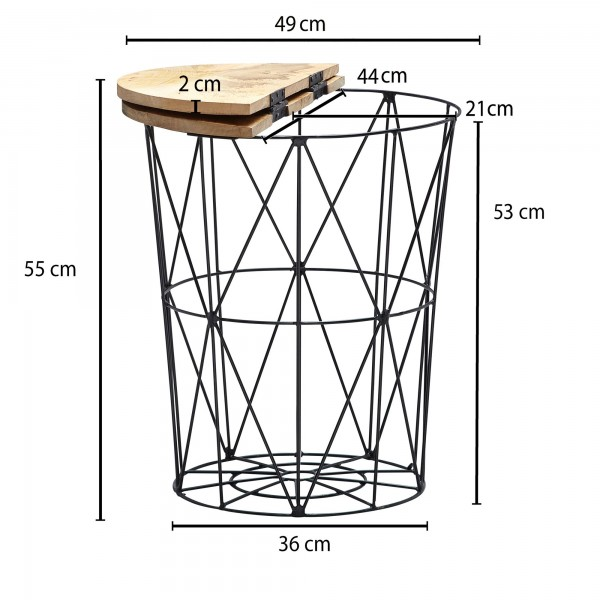 Design  Auffaelliger Beistelltisch im angesagten Industrial-Stil Runde Tischplatte zur Ablage von diversen Utensilien Fester Stand dank des robusten Metallgestells Natuerliche Maserung des Mangoholzes Abmessungen  Breite: 49 cm Hoehe: 55 cm Tiefe: 49