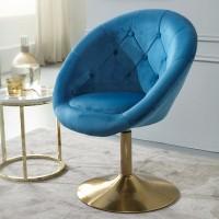 Design  Gemuetlicher Loungesessel mit Chesterfield Muster Attraktive Farbkombination aus Blau und Gold Angenehm weiche Sitzschale fuer gemuetliche Stunden...
