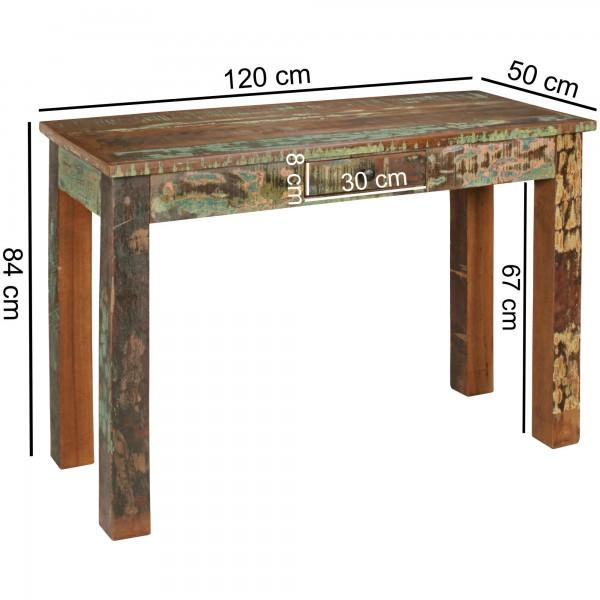 Design  Hochwertiger Konsolentisch im Shabby-Chic-Design Grosse, rechteckige Tischplatte zur Ablage von diversen Utensilien Fester Stand dank der massiven Tischbeine Abmessungen  Breite: 120 cm Hoehe: 84 cm Tiefe: 50 cm Innenmasse Schublade (B x H x