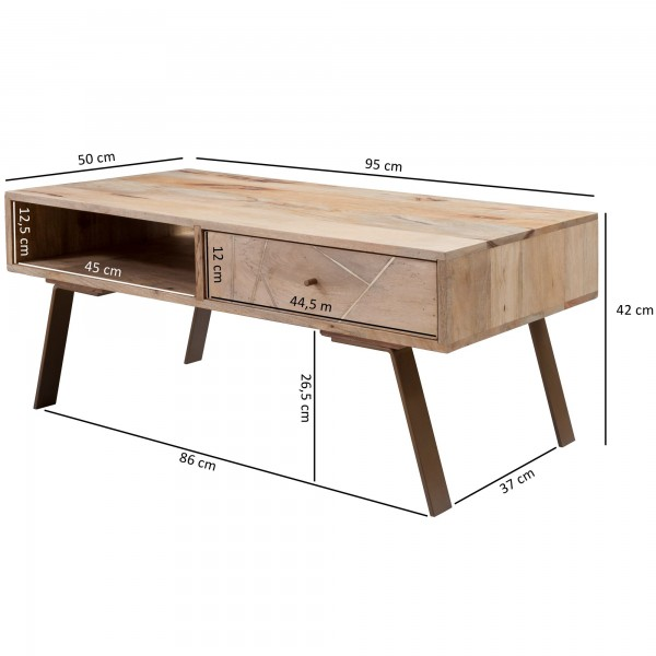 Design  Traumhafter Couchtisch im rustikalen Landhausstil Feine Metallstreifen zieren die beiden Schubladenfronten Getragen wird der Sofatisch von vier robusten Standbeinen Ausgestattet ist der Tisch mit einer Schublade und einem offenen Fach Abmessu
