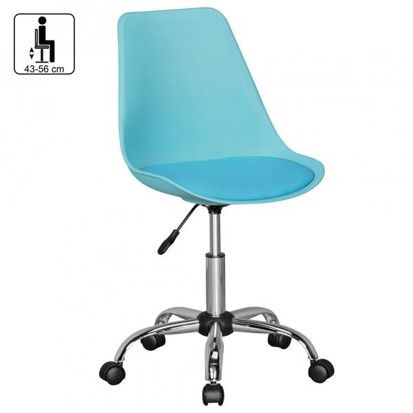 Design  Sitzflaeche mit Leder Optik bezogen Stuhl mit verchromten Fusskreuz Sitzschale in passender Farbe zur Sitzflaeche Farbe  Sitzflaeche &amp  -Schale: Blau Fusskreuz: Chrom Besonderheiten  Sitz um 360° drehbar Fusskreuz mit 5 Hartbodenrollen au