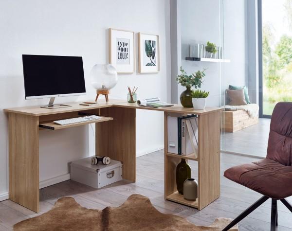 Design  Schreibtischkombination in zeitlosem Design Praktischer Buerotisch mit integriertem Standregal Ausgestattet mit zwei offenen Faechern und einem Tastaturauszug Abmessungen  Breite: 140 cm Hoehe: 75,5 cm Tiefe: 120 cm Boden bis Tastaturauszug: