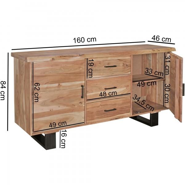 Design  Sideboard mit ausdrucksstarkem Design Moderner Landhausstil mit natuerlichem Erscheinungsbild Kommode mit drei Schueben und vier Stauraumfaecher Abmessungen  Breite: 160 cm Hoehe: 84 cm Tiefe: 46 cm Schubladen Innenmass BxHxT: 44 x 15,5 x 32,
