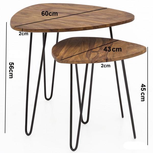 Design  Zweiteiliger Satztisch im angesagten Industrial-Design Materialmix aus massivem Holz und robustem Metall Natuerlich gehaltene Tischplatten mit schwarzen Tischgestellen Abmessungen BxHxT  Grosser Tisch: 60 x 56 x 60 cm Kleiner Tisch: 43 x 45 4