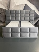 Boxspringbett Majestic Grau Stoff in Samtvelours 180 x 200 cm