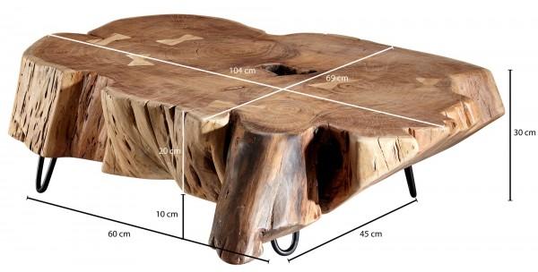 Design  Wuchtiger Couchtisch im umwerfenden Naturstil Ungleichmaessige Tischplatte als absolutes Highlight Naturbelassene Baumrinde unterstreicht den natuerlichen Look Fester Stand dank der stabilen Metallbeine Abmessungen  Breite: ca. 104 cm Hoehe: