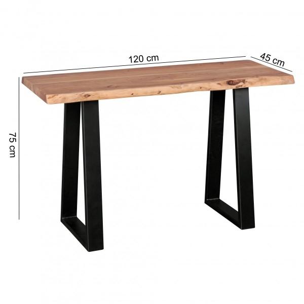 Design und Verwendung: Die natuerlichen Unebenheiten und die Wuchtigkeit machen die Konsole einzigartig. Durch die kompakte Groesse von 120 cm findet man auch in kleineren Raeumen den perfekten Platz fuer den Tisch - sowohl als Konsolentisch, als auc