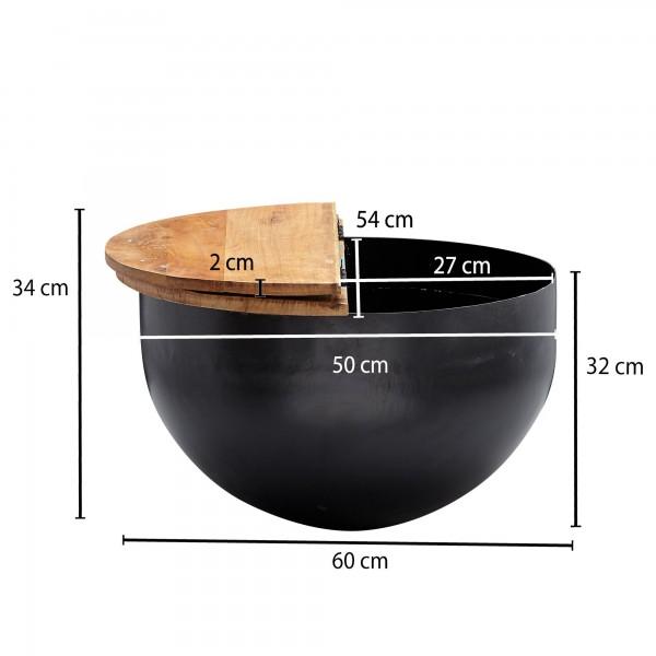 Design  Attraktiver Couchtisch im angesagten Industrial-Stil Runde Tischplatte zur Ablage von diversen Utensilien Fester und stabiler Stand dank des robusten Metallkoerpers Abmessungen  Breite: 60 cm Hoehe: 34 cm Tiefe: 60 cm Staerke der Tischplatte: