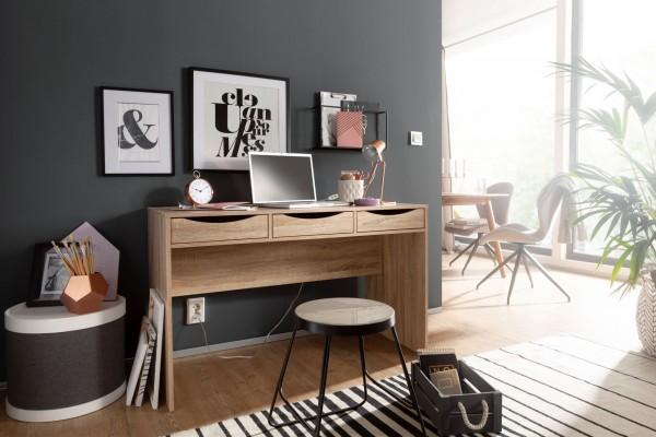 Design  Hochwertiges und modernes Design kombiniert Praktische Blende an der Rueckseite des Tisches (kein Kabelsalat zu sehen) 3 Schubladen mit formschoen ausgearbeiteten &amp  extra breiten Griffmulden 2 farbgleiche Seitenwaende als Standfuesse Abme