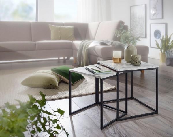 Design  Zwei Beistelltische im modernen, schlichten Stil Die Tischplatten stechen durch die edle Marmor-Optik hervor Robustes Metallgestell fuer einen sicheren Stand Abmessungen Grosser Tisch  Breite: 40 cm Hoehe: 42,5 cm Tiefe: 40 cm Kleiner Tisch