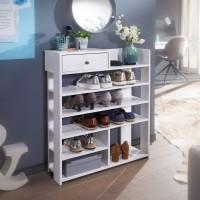 Design  Modernes Schuhregal mit einer Schublade Flurregal mit sieben Staufaechern Schlichtes Standregal im modernen Look Abmessungen  Breite: 75 cm Hoehe:...