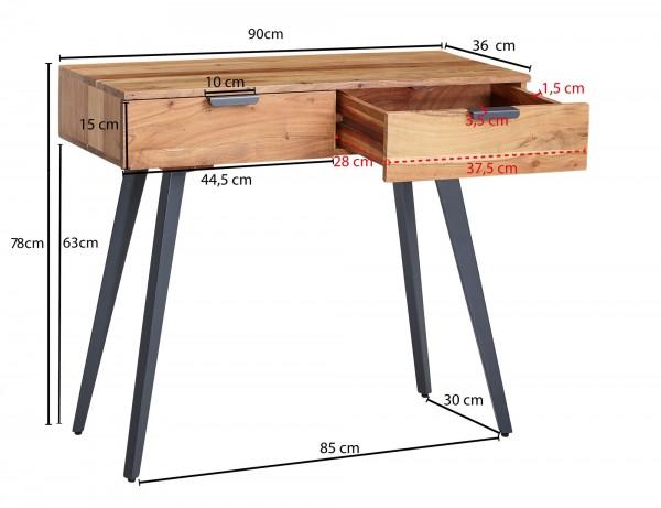 Design  Moderner Konsolentisch mit angesagtem Materialmix aus Holz und Metall Geraeumige Ablageflaeche bietet viel Platz fuer diverse Utensilien Zusaetzlichen Stauraum bieten die zwei geraeumigen Schubladen Abmessungen  Breite: 90 cm Hoehe: 78 cm Tie