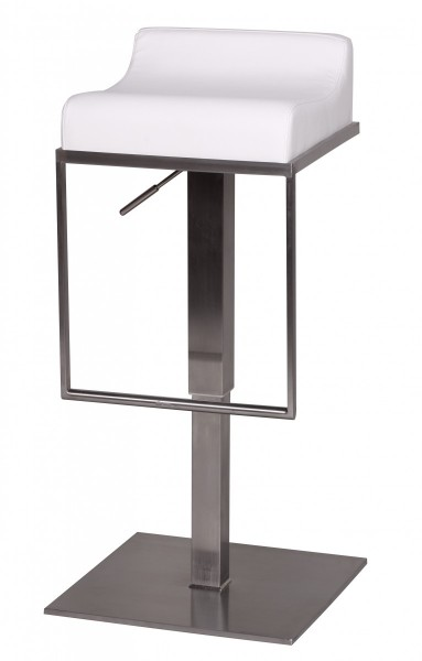 Design  Moderner Edelstahl Barhocker im schlichten Design Die ueppig gepolsterte Sitzflaeche erzeugt ein angenehmes Sitzgefuehl Design Fussablage in rechteckiger Form und grosser Bodenplatte aus Edelstahl Abmessungen  Sitzhoehe: 59 - 84 cm Gesamthoeh