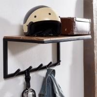 Design  Ausdrucksstarke Garderobe aus Holz und Metall Wandgarderobe mit fuenf Haken und einer Ablageflaeche Echtholzgarderobe mit einzigartiger Masserung...