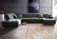 Wognlandschaft Brisbane Schwarz/Dunkelgrau Luxus-Webstoff/Mikrofaser 202 x 380 x 150 cm