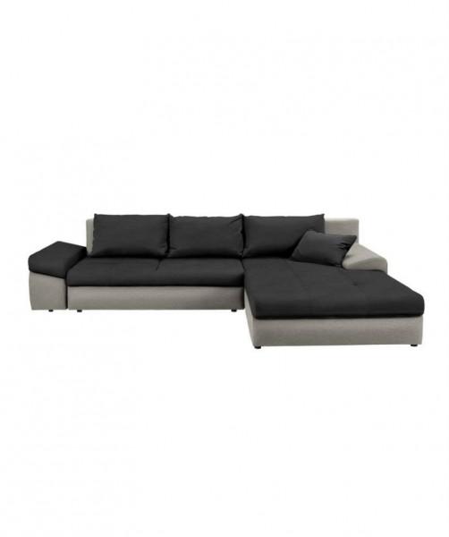 "Sofa ""Bono"" beidseitig montierbar Strukturstoff Dunkelgrau/Grau 245 x 160 cm"
