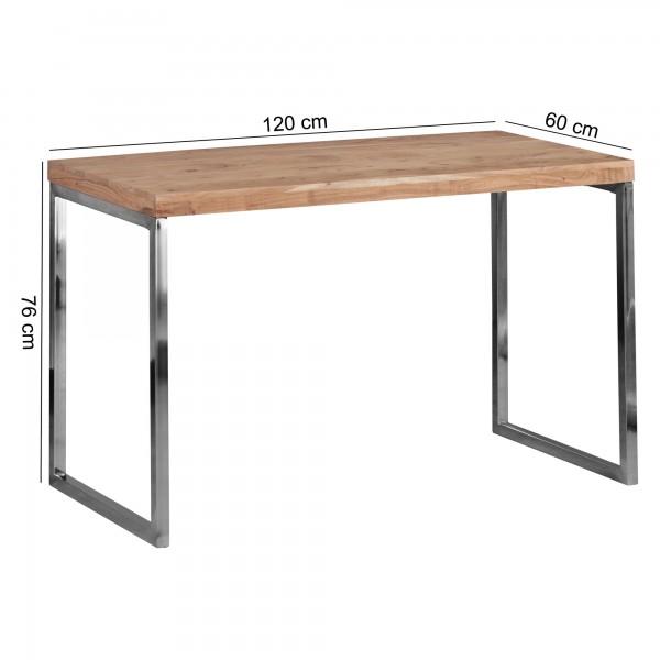 Design &amp  Verwendung: Durch die einfache und platzsparende Form laesst sich der Schreibtisch ueberall ohne Probleme platzieren. Der Abstand vom Boden bis zur Unterkante des Tisches betraegt 71 cm - Sie koennen somit mit Ihrem Buerostuhl ganz einfa