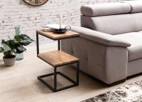Design  Anstelltisch in Form eines S Moderner Beistelltisch mit Metallgestell Natuerliche Maserung des Edelholzes Zwei Ablageflaechen bieten viel Platz...