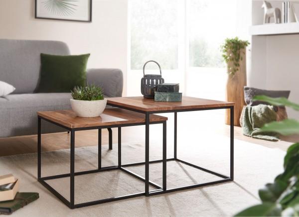 Design  Quadratische Beistelltische im aufregenden Industrial Style Stimmiger Materialmix aus Massivholz und Metall Zwei Tische in unterschiedlichen Groessen Abmessungen Grosser Tisch:  Breite: 60 cm Tiefe: 60 cm Hoehe: 46 cm Maximalbelastbarkeit: 15