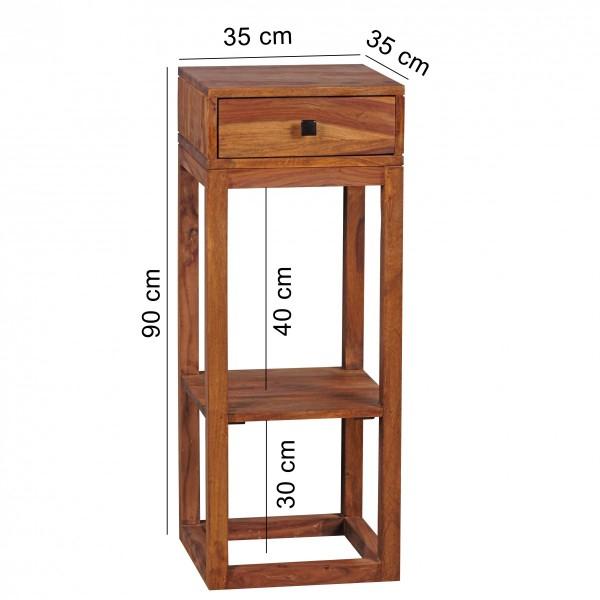 Wofuer geeignet?  Dieses rustikale Moebelstueck ist ein echter Hingucker in Ihren vier Waenden. Egal ob im Flur als Telefontisch, im Wohnzimmer als Beistelltisch oder auch im Schlafzimmer neben Ihrem 90cm hohem Boxspring Bett. Dieses wunderbare Moebe