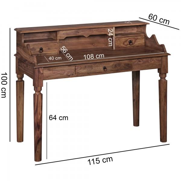 Wofuer geeignet? Die grosse Tischplatte und die 3 Schubladen und Faecher bieten ausreichend Stauraum. Kombinierbar mit anderen Massivholzmoebeln und Buerostuehlen.   FSC® zertifizierte Ware: Bei dem Material handelt es sich um FSC® zertifizierte Wa