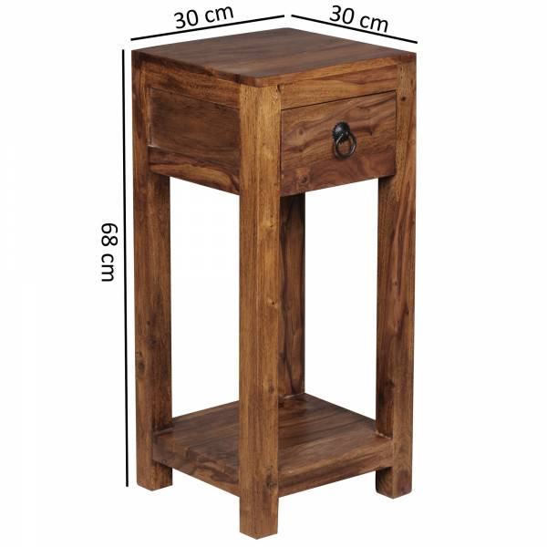 Wofuer geeignet? Mit einer Breite und Tiefe von 30 cm ist der Tisch individuell einsetzbar und zudem platzsparend - Ideal als Abstellmoeglichkeit in Ecken platzierbar - Schublade und Ablagefach als zusaetzlicher Stauraum   FSC® zertifizierte Ware: B